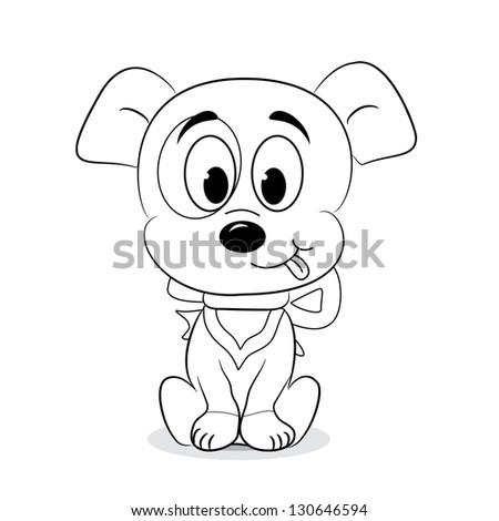 Outlined cute cartoon dog. Vector illustration. - stock vector