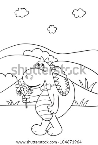 Outlined cute cartoon dragon for coloring book. Vector illustration. - stock vector