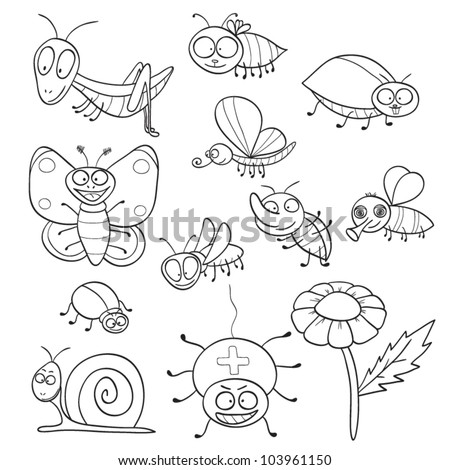 Outlined cute cartoon insects for coloring book. Vector illustration. - stock vector