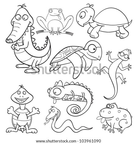 Outlined cute cartoon reptiles and amphibians for coloring book. Vector illustration. - stock vector