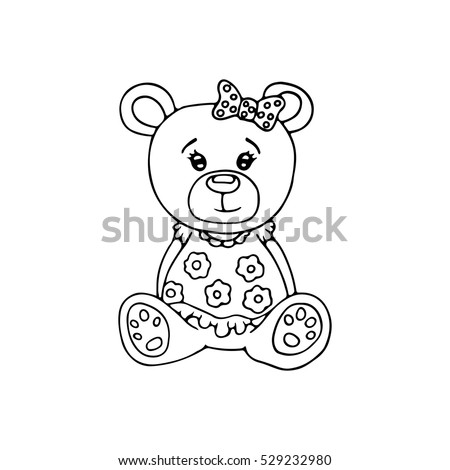 Outlined Cute Teddy Bear Coloring Page Stock Vector (Royalty Free ...