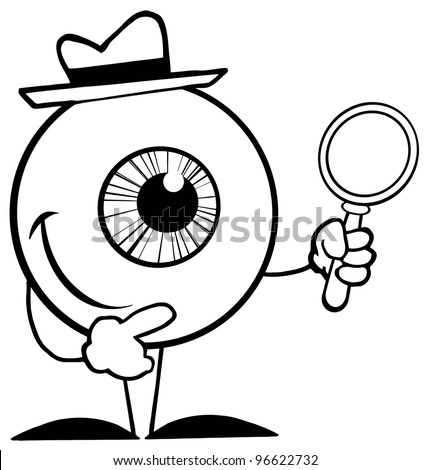 Outlined Detective Eyeball Holding A Magnifying Glass. Jpeg version also available in gallery. - stock vector