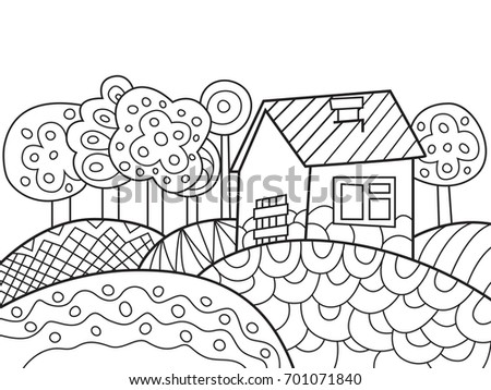 Outlined Doodle Antistress Coloring Book Page Stock Vector (Royalty ...