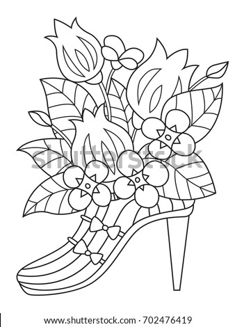 Outlined Doodle Anti Stress Coloring Book Page Shoe With Flowers For Adults And Children