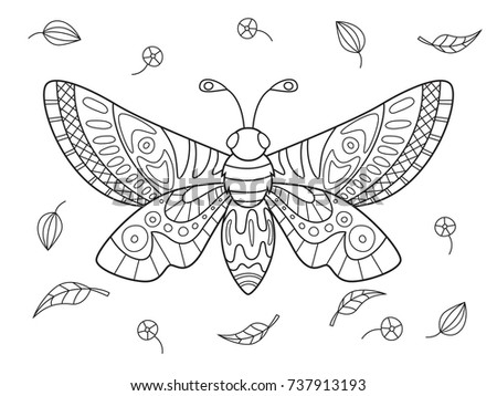 Outlined Doodle Anti Stress Coloring Butterfly And Herbarium. Coloring Book  Page For Adults And