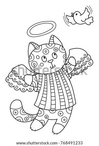 angel kitten coloring pages | Angel Cat Stock Images, Royalty-Free Images & Vectors ...