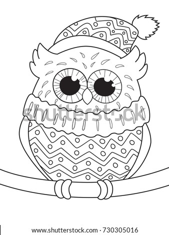 Outlined Doodle Anti Stress Coloring Page Cute Owl In The Sweater And Hat