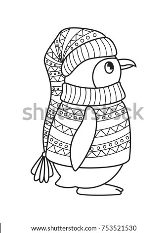 outlined doodle anti stress coloring penguin coloring book page for adults and children - Penguin Coloring