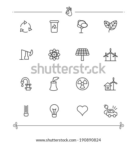 Outlined Ecology and Environment Icon Set Collection - stock vector