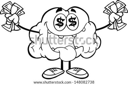 Outlined Euro Money Loving Brain Cartoon Character - stock vector