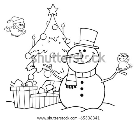 Outlined Friendly Snowman With A Cute Birds And Christmas Tree - stock vector