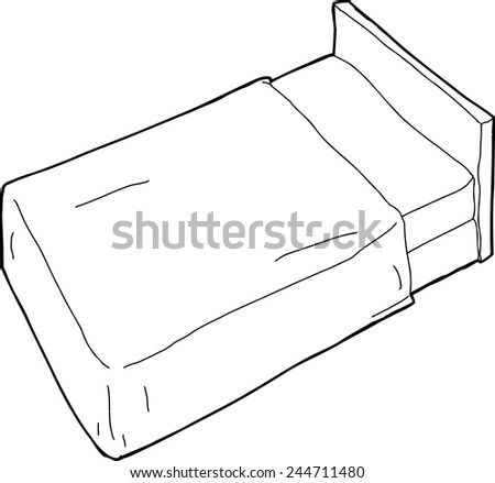 Outlined hand drawn cartoon bed with headboard - stock vector