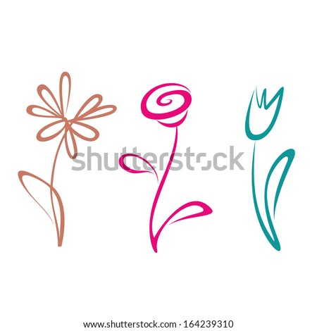 outlined hand drawn flower collection - stock vector