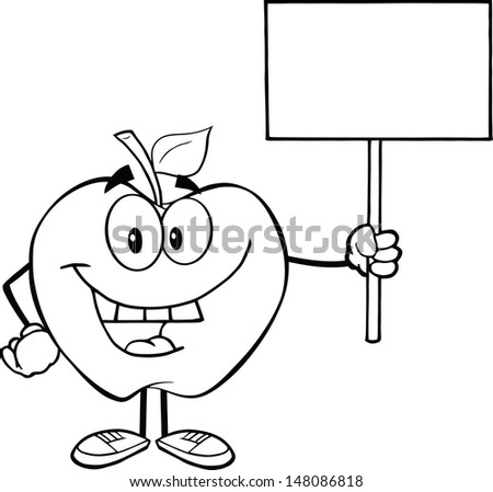 Outlined Happy Apple Cartoon Character Holding Up A Blank Sign - stock vector