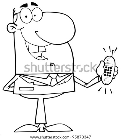 Outlined Happy Businessman With Phone Ringing.Vector Illustration - stock vector