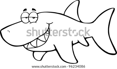 Outlined Happy Shark Cartoon Character. Vector Illustration.Jpeg version also available - stock vector