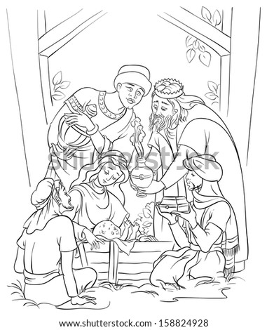 Outlined illustration of a Nativity scene - Jesus, Mary, Joseph and the Three Kings. Coloring page. Also available colored version - stock vector