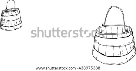 Outlined illustration of two wooden and iron 18th century buckets with handles over white background - stock vector
