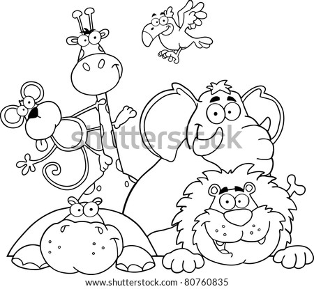 Outlined Jungle Animals. Vector illustration - stock vector
