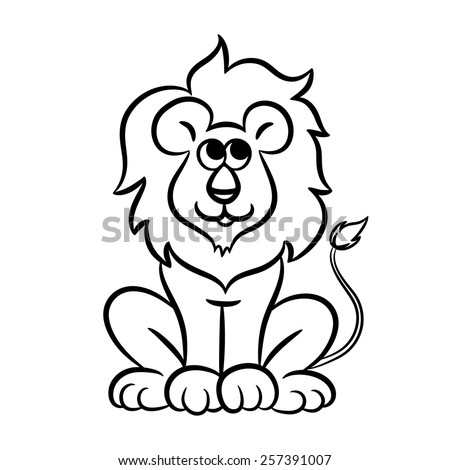 outlined lion vector illustration isolated on white