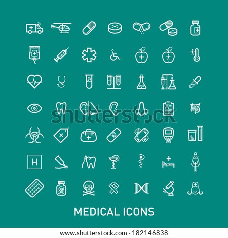 Outlined Medical Icons Set Collection - stock vector