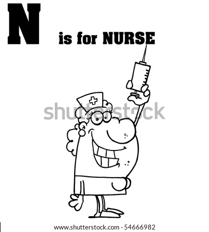 Outlined Nurse With N Is For Nurse Text - stock vector