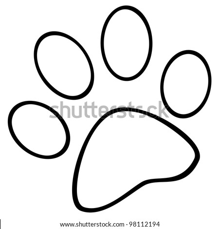 Outlined Paw Print. Vector Illustration - stock vector