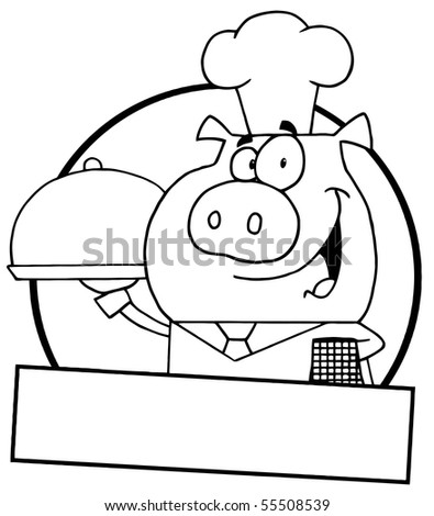 Outlined Pig Waiter Serving A Platter With A Text Box - stock vector