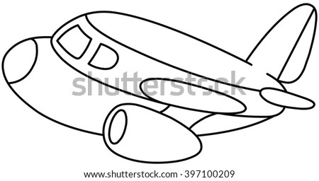 Outlined Plane Vector Illustration Coloring Page