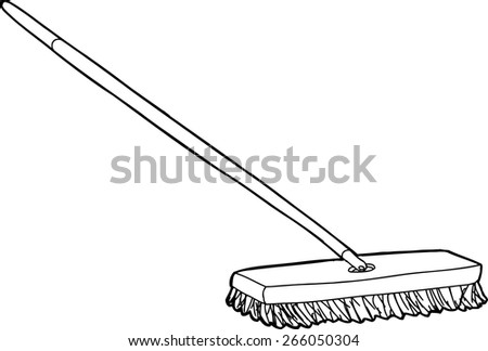 outlined push broom over white background - Push Broom