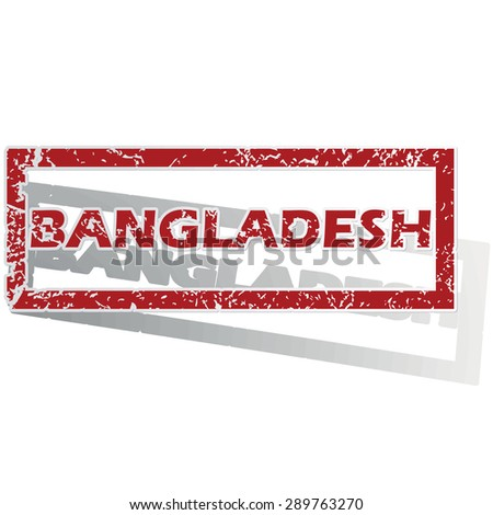 Outlined red stamp with country name Bangladesh, with shadow