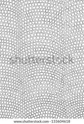 outlined road surface paved with small bricks, viewed from above - stock vector