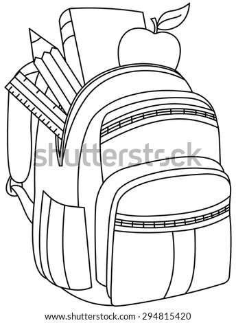 Outlined school backpack. Vector illustration coloring page. - stock vector