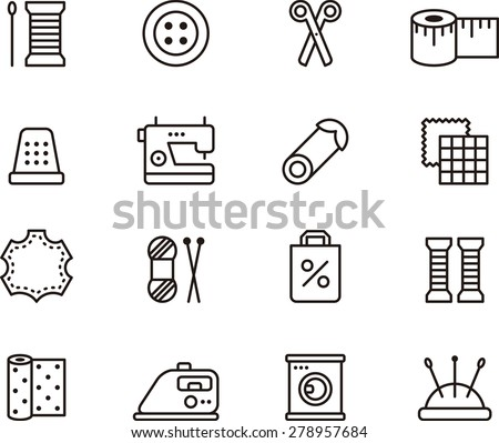 Outlined SEWING & FASHION icons - stock vector