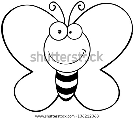 Outlined Smiling Butterfly Cartoon Mascot Character - stock vector