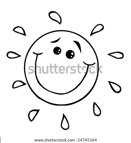 Outlined Smiling Sun Cartoon Character - stock vector