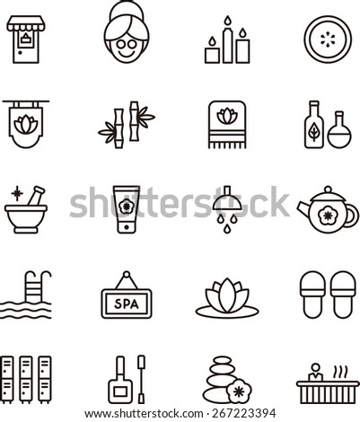 Outlined Spa & Wellness icons in white background - stock vector