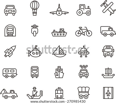 Outlined TRANSPORTS ICON SET in a white background - stock vector