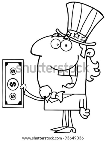 Outlined Uncle Sam With Holding A Dollar Bill - stock vector