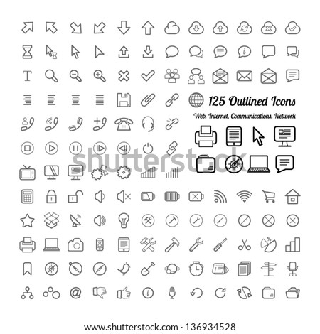 Outlined Web and Internet Icon Set Collections - stock vector