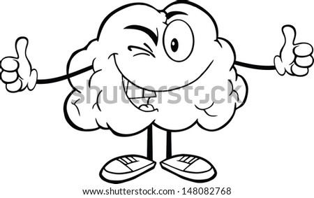 Outlined Winking Brain Cartoon Character Giving A Thumb Up - stock vector