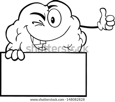 Outlined Winking Brain Character Holding A Thumb Up Over Sign - stock vector