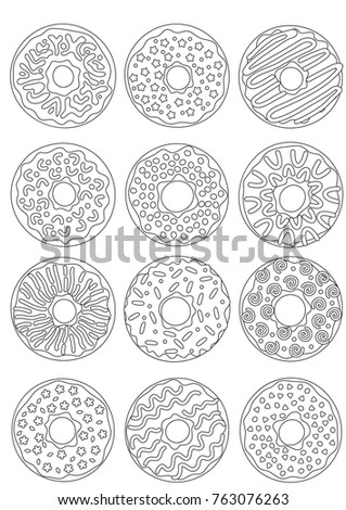 Outlined Zentangle Anti Stress Coloring Page Donuts Set. Coloring Book Page  For Adults And