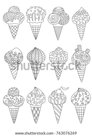 outlined zentangle antistress coloring page ice stock