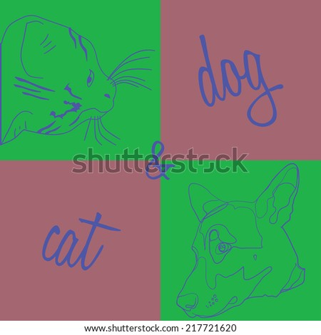 outlines of dogs and cats design element for animal feed and other products for animals, as well as brochures, devoted to the International Day for Animal Welfare - stock vector