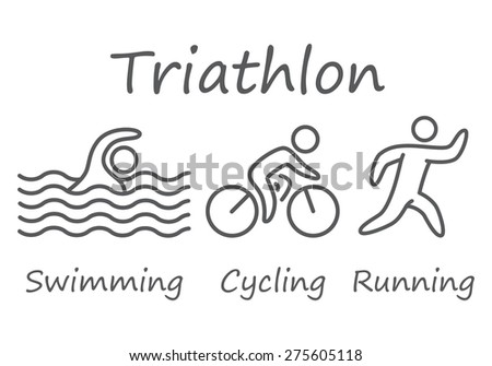 Outlines of figures triathlon athletes. Swimming, cycling and running vector symbols. - stock vector