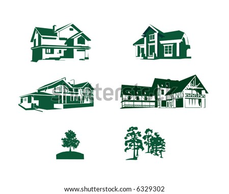 Outlines of houses and trees in a vector - stock vector