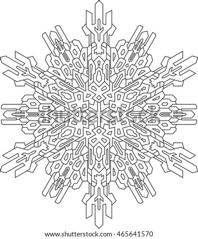 outlines of snowflake in mono line style for coloring book vector geometric pattern - Microbiology Coloring Book
