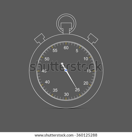 Outlines simple stopwatch icon - vector illustration