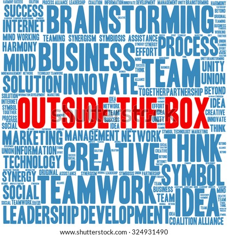 Outside the Box word cloud on a white background.